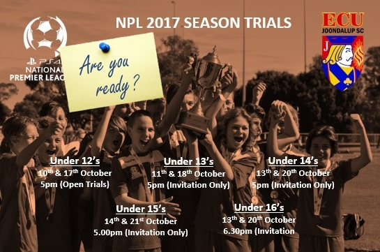 ECU Joondalup Junior NPL Trials – Are you ready!!