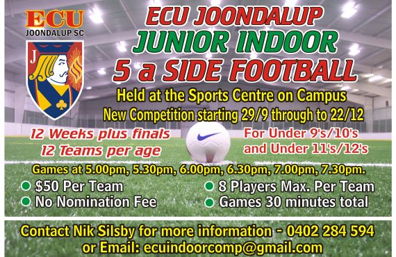 Get your teams in for the ECU Junior Futsal Competition
