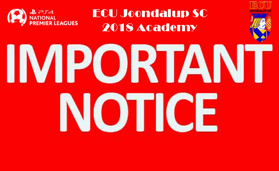 Important Notice – ECU Academy Teams
