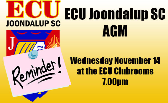 ECU Joondalup SC – AGM – Wednesday Nov 14